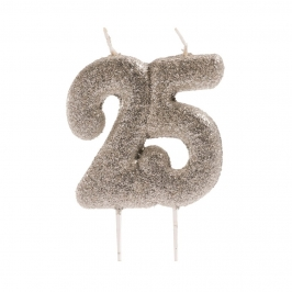 Vela 25 Cumpleaños Purpurina Plata