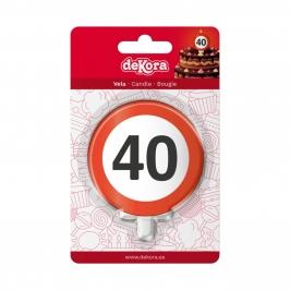 Vela 40 Cumpleaños Señal Prohibido