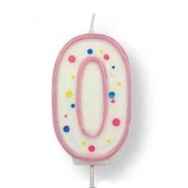Vela de cumpleaños 0 rosa