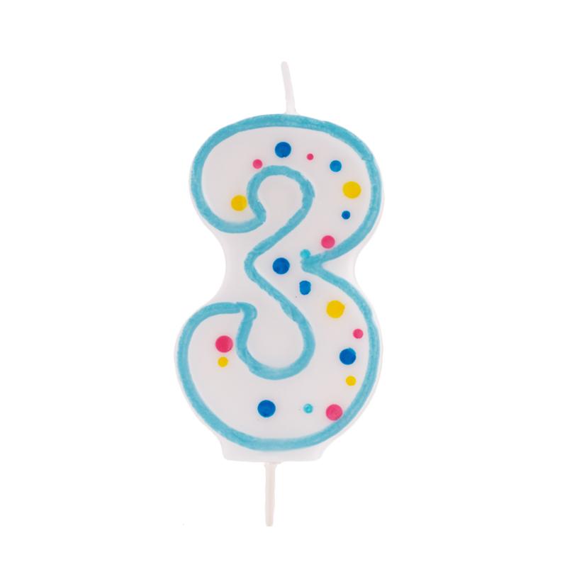 Vela de cumpleaños 3 Azul - My Karamelli