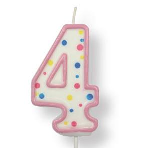 Vela de cumpleaños 4 rosa