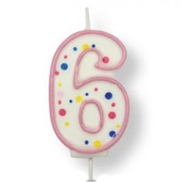 Vela de cumpleaños 6 rosa