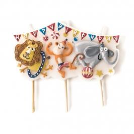 Vela de cumpleaños de animales del circo de 9 cm