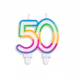 Vela de Cumpleaños Multicolor 50