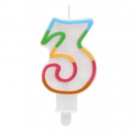 Vela Multicolor Purpurina Número 3