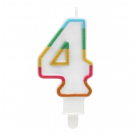 Vela Multicolor Purpurina Número 4