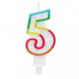 Vela Multicolor Purpurina Número 5