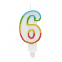 Vela Multicolor Purpurina Número 6