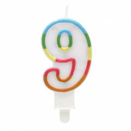 Vela Multicolor Purpurina Número 9