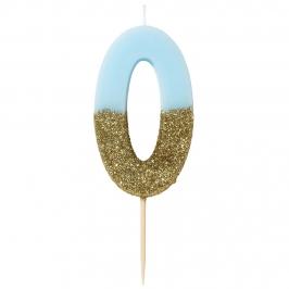 Vela Nº 0 Azul Celeste y Dorada de 12 cm