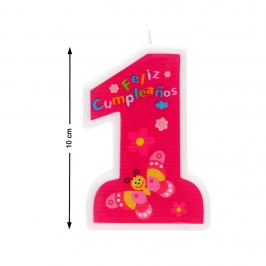 Vela Nº 1 Feliz Cumpleaños Rosa 10 cm