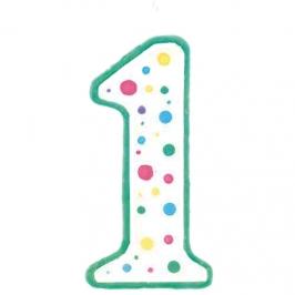 Vela de cumpleaños Nº 1 verde