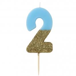 Vela Nº 2 Azul y Dorada de 12 cm