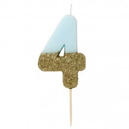 Vela Nº 4 azul celeste y dorada de 12 cm