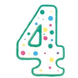 Vela de cumpleaños Nº 4 verde