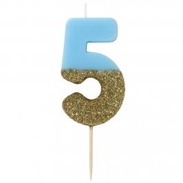 Vela Nº 5 Azul y Dorada de 12 cm