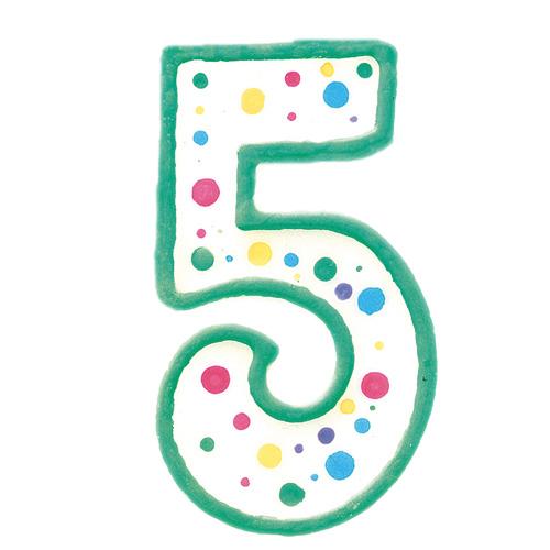Vela de cumpleaños Nº 5 verde