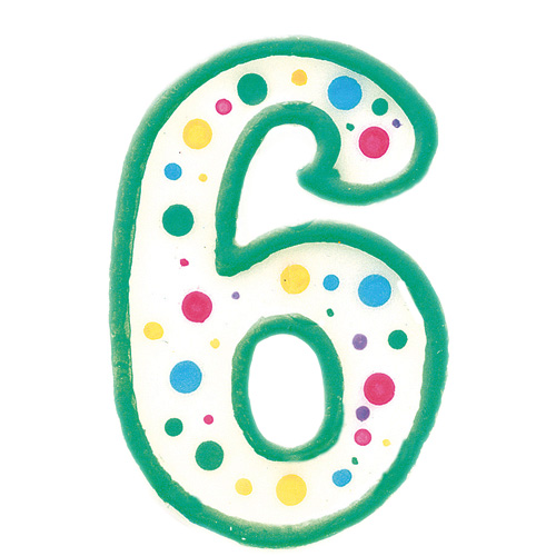Vela de cumpleaños Nº 6 verde