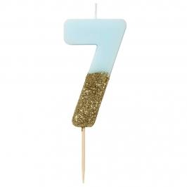 Vela Nº 7 Azul Celeste y Dorada de 12 cm