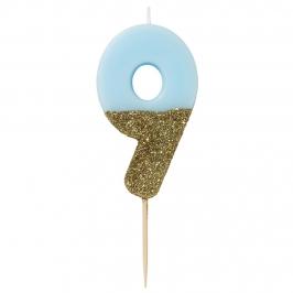 Vela Nº 9 Azul Celeste y Dorada de 12 cm