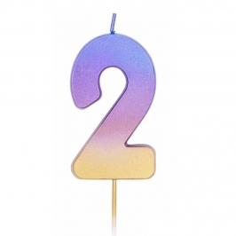 Vela Número 2 Rainbow 7 cm