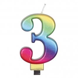 Vela Número 3 Rainbow 7 cm