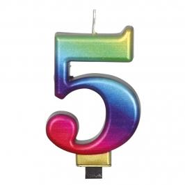 Vela Número 5 Rainbow 7 cm