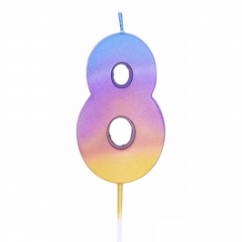 Vela Número 8 Rainbow 7 cm