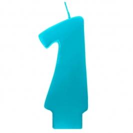 Vela número 1 color turquesa 6cm