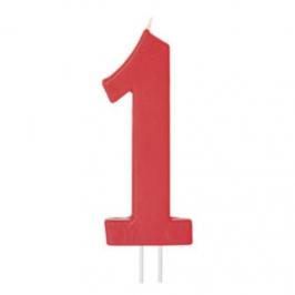 Vela Número 1 Roja 12cm