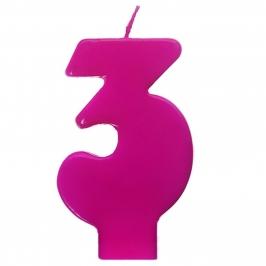 Vela número 3 color fucsia 6 cm
