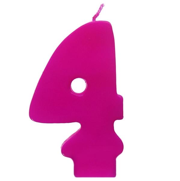 Vela número 4 color fucsia 6cm