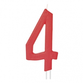 Vela Número 4 Roja 12cm