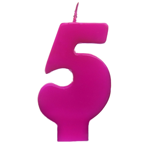 Vela número 5 color fucsia 6cm