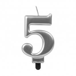 Vela Número 5 Plateada 7 cm