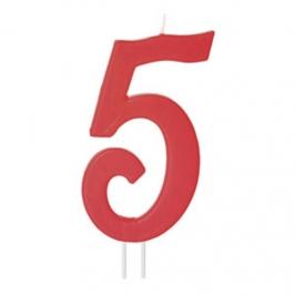 Vela Número 5 Roja 12cm