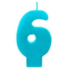Vela número 6 color turquesa 6cm