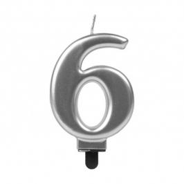 Vela Número 6 Plateada 7 cm