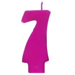 Vela número 7 color fucsia 6cm