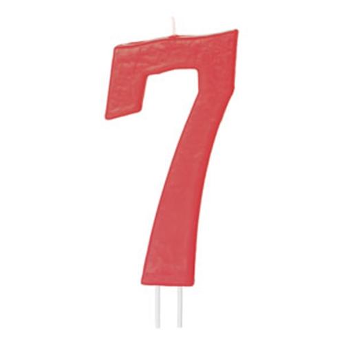 Vela Número 7 Roja 12cm