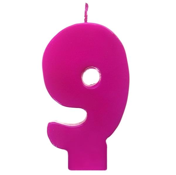 Vela número 9 color fucsia 6cm