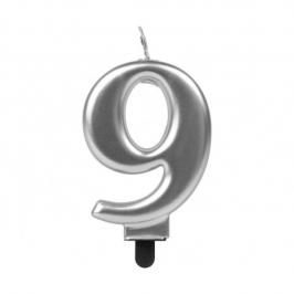 Vela Número 9 Plateada 7 cm