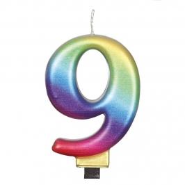 Vela Numero 9 Rainbow 7 cm