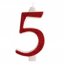 Vela brillante Roja Nº 5
