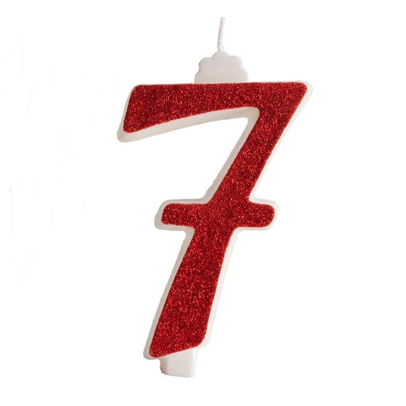 Vela brillante Roja Nº 7