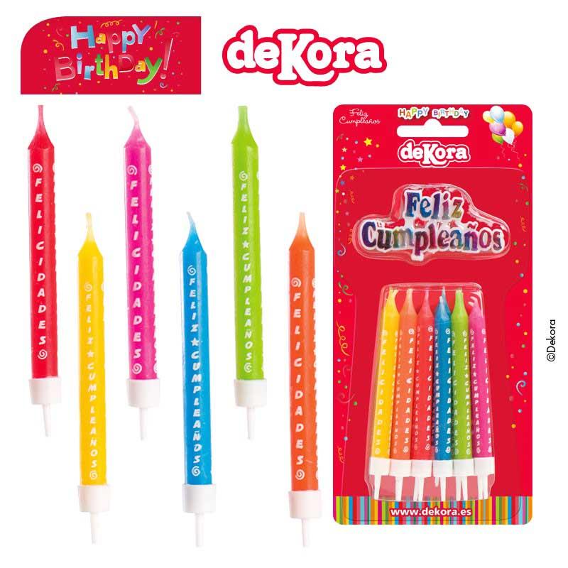 Velas de colores Feliz Cumpleaños