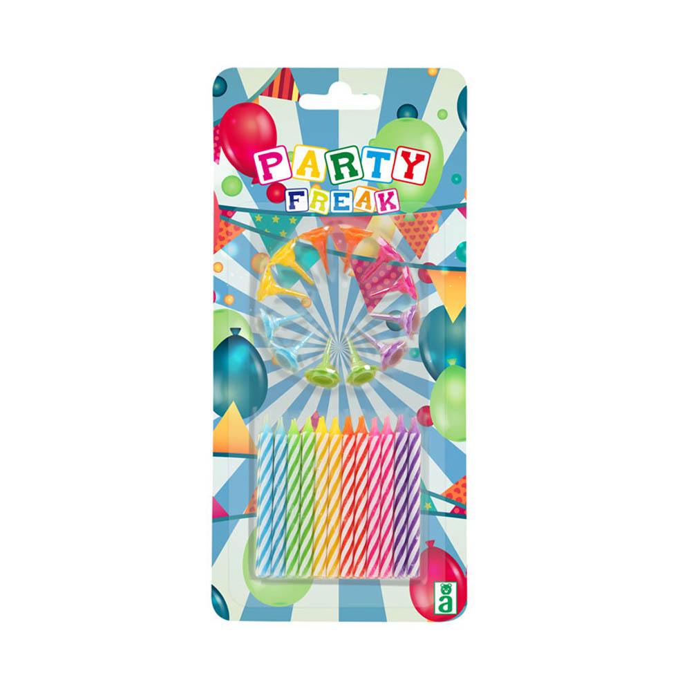 Velas de Cumpleaños Multicolor 12 ud