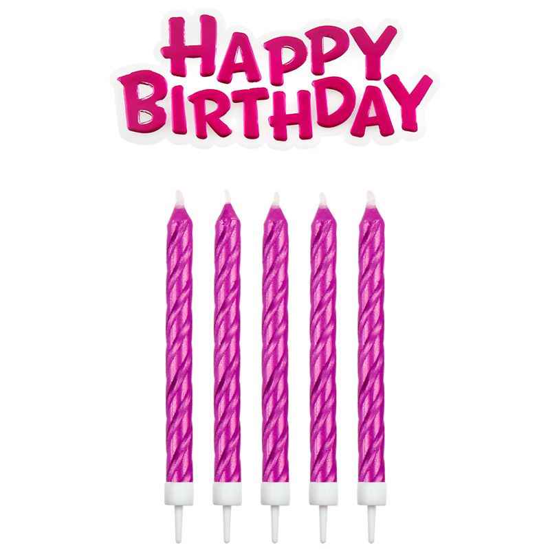 Velas Fucsias Happy Birthday