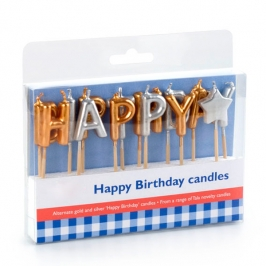 Velas Happy Birthday Plata/Oro
