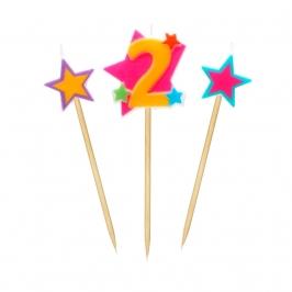 Velas Número 2 Estrellas
